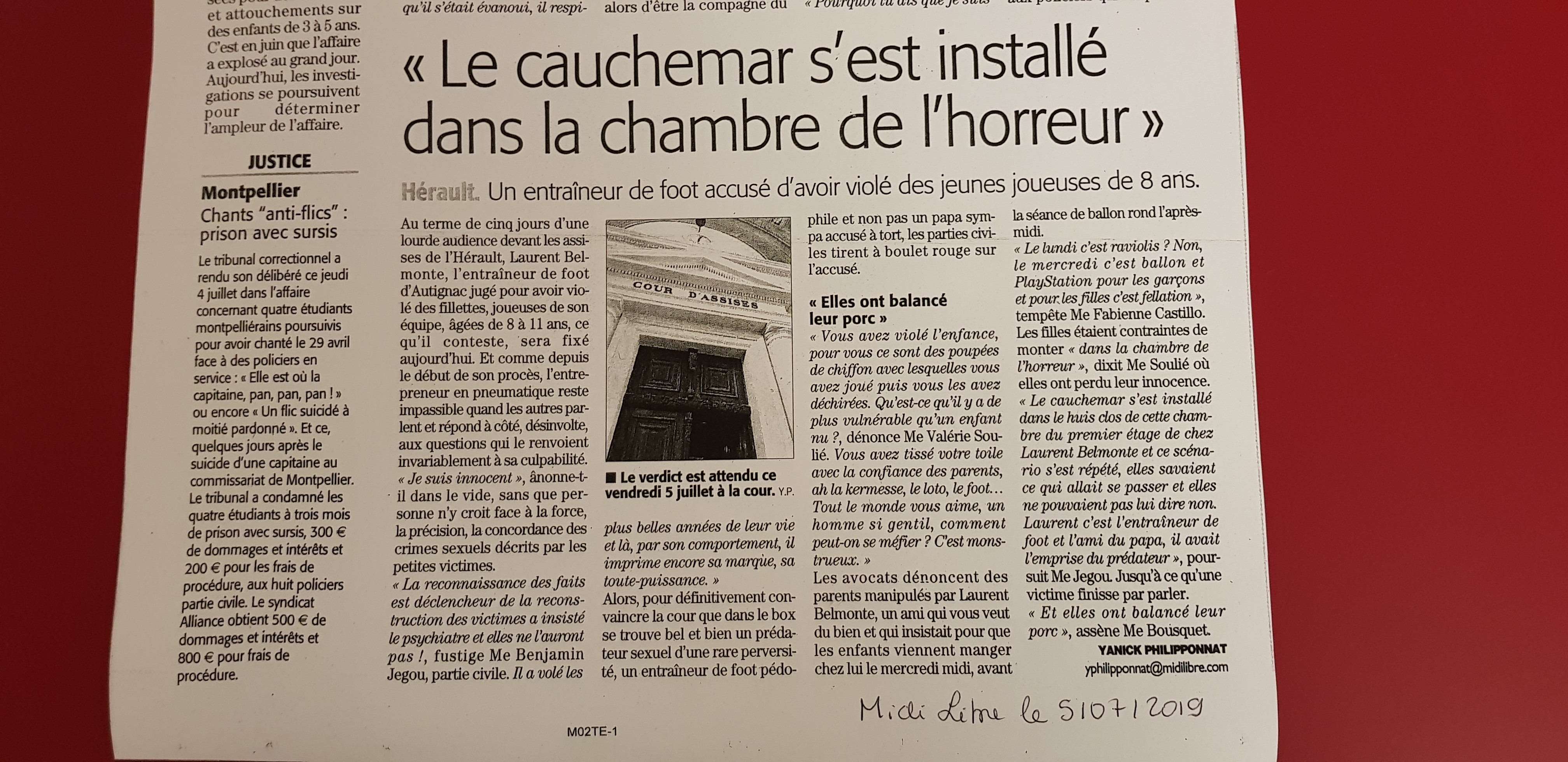Article Midi Libre du 05/07/19